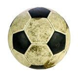Sjaskig fotbollboll på vit bakgrund med att fästa ihop PA Royaltyfri Fotografi