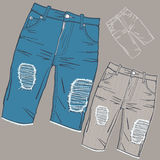 sjaskig jeans royaltyfri illustrationer