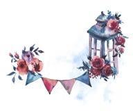Sjaskig lykta för vattenfärgtappningrost med djupt - röd ros och PA vektor illustrationer