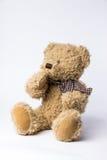 Sjaskig nallebjörn med kopparkokkärlet på vit bakgrund Arkivfoto