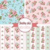 Sjaskiga chic Rose Patterns seamless set för modell Blom- modell för tappning, bakgrunder royaltyfri illustrationer