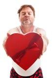 Sjaskiga Valentine Guy Ready för kyss Royaltyfria Foton