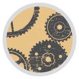 Sjaskigt emblem med kugghjul i stilgrunge Fotografering för Bildbyråer