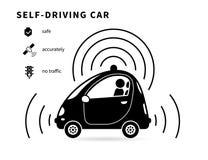 Själv-körning av den svarta symbolen för bil Arkivbild