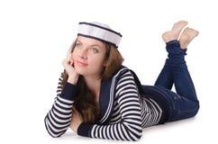 Sjömannen för ung kvinna som isoleras på vit Arkivbilder