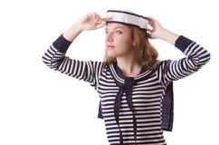 Sjömannen för ung kvinna som isoleras på vit Royaltyfri Foto