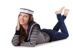 Sjömannen för ung kvinna som isoleras på vit Royaltyfri Bild