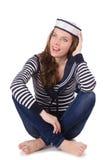Sjömannen för ung kvinna som isoleras på vit Royaltyfri Fotografi