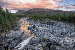 Sjoa river at Gjendesheim, Jotunheim National Park, Norway Stock Images
