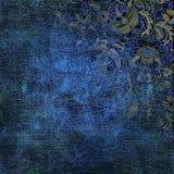 Sjofel gekleurd bloemenpatroon op blauwe achtergrond Royalty-vrije Stock Afbeelding