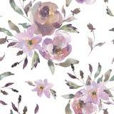 Sjofel Uitstekend Waterverf Bloemen Naadloos Patroon, Waterverfrozen in Stof Roze Kleuren vector illustratie