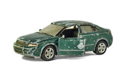 Sjofele die stuk speelgoed auto op wit wordt geïsoleerd royalty-vrije stock fotografie
