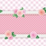 Sjofele elegante textiel naadloze patroonachtergrond Girly De verschillende die collage van stoffenstukken, met kant en rozen wor stock illustratie