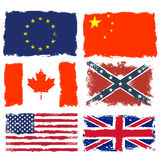 Sjofele vlaggen van Canada, China, Verbonden leger, Europese Unie, Groot-Brittannië en de V.S. Royalty-vrije Stock Foto