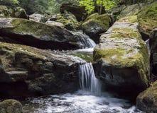 Sju badar vattenfallet Rocky Forest Stream fotografering för bildbyråer