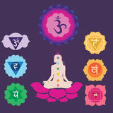 Sju chakras för yogatryck Royaltyfria Bilder