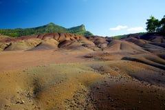 Sju färgad jord i Chamarel, Mauritius Arkivbilder