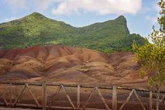 Sju färgad jord i Mauritius Arkivfoto