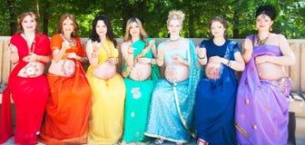 Sju gravida kvinnor Royaltyfri Foto