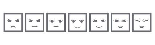 Sju Gray Faces Feedback /Mood Iconic illustration av tillfredsställelsenivån Spänna för att bedöma sinnesrörelserna av ditt inneh stock illustrationer