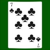 Sju klubbor Kortdräktsymbol som spelar kortsymboler stock illustrationer