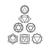 Sju mänskliga chakras, vektorillustration Royaltyfri Foto