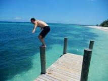 Sju mil strand på den storslagna kajmanön Exotiskt turism arkivfoto