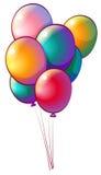 Sju regnbåge-färgade ballonger Royaltyfria Foton