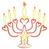Sju symboliska stearinljus på en ljusstake med en lilja och ett kors royaltyfri illustrationer