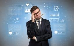 Sjuk affärsman med medicinsk forskningbegrepp arkivbild