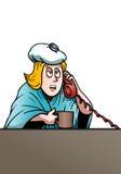 sjuk affärskvinna royaltyfri illustrationer