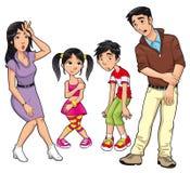 sjuk familj royaltyfri illustrationer