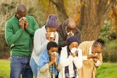 Sjuk familj som blåser deras näsa Arkivfoto