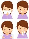 Sjuk flicka med den influensamaskeringen, termometern och näsduken Royaltyfria Bilder