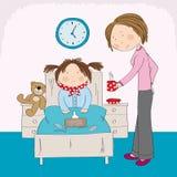 Sjuk flicka med influensasammanträde i sängen, mum som kommer med varmt te vektor illustrationer