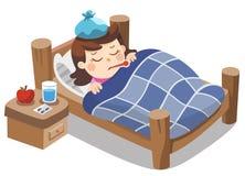 Sjuk gullig flickakänsel som så är dålig med feber royaltyfri illustrationer