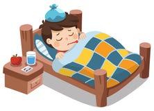 Sjuk gullig pojkekänsel som så är dålig med feber stock illustrationer