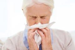 Sjuk hög kvinna som blåser näsan till den pappers- servetten royaltyfri fotografi