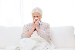 Sjuk hög kvinna som blåser näsan till den pappers- servetten Arkivfoton