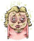 sjuk kvinna för tecknad film Arkivfoton