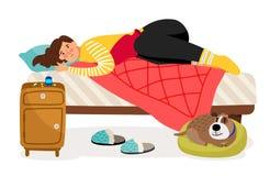 sjuk kvinna för underlag Menstruations- smärta, det vård- vektorbegreppet för kvinnan vektor illustrationer