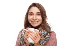 Sjuk kvinnlig dricka medicin Arkivfoto