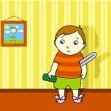 sjuk pojke vektor illustrationer