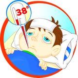 Sjuk pojke i säng med tecken av feber och termometern i hans mun stock illustrationer