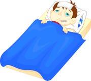 Sjuk pojke i säng med tecken av feber och termometern i hans mun royaltyfri illustrationer