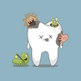 Sjuk tand för tecknad film Royaltyfri Foto
