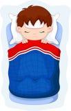 Sjuk unge som ligger i säng Arkivbild