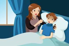 Sjuk unge som tar medicin vektor illustrationer