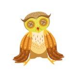 Sjuka Owl Cute Cartoon Character Emoji med Forest Bird Showing Human Emotions och uppförande Arkivbild