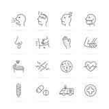 Sjukdom- och sjukdomvektorlinje symboler vektor illustrationer